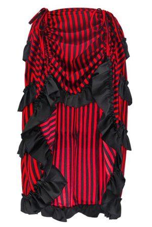 Red Black Burlesque Steampunk Skirt