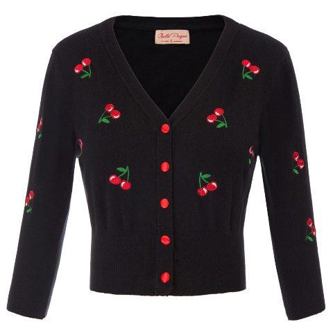 Retro Rockabilly Black crop cardigan cherries