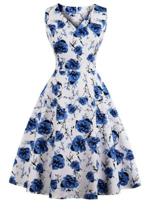 White Blue Floral Retro Vintage Swing Dress