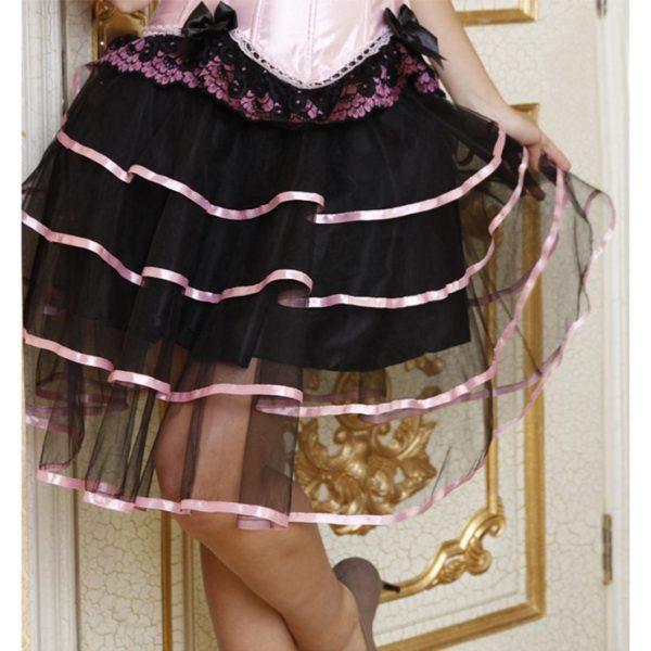 Burlesque Black Layered Tutu Skirt With Pink Ribbon Trim