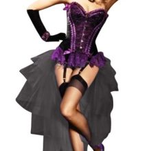 Purple Valentina Burlesque Corset & Black Layered Bustle Skirt Set