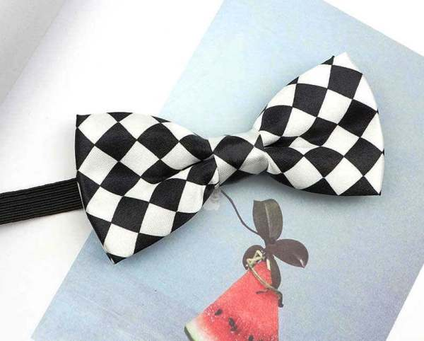 black white checkerboard bow tie