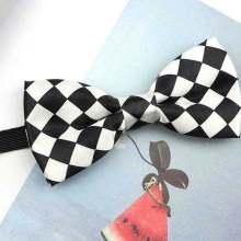 black white checkerboard bow tie