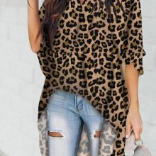 Leopard Print V Neck High Low Top