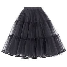 Black Retro Rockabilly Swing A Line Layered Crinoline 50's Petticoat