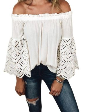 White / Ivory Off Shoulder Pirate Renaissance Steampunk Top With Lace Sleeves