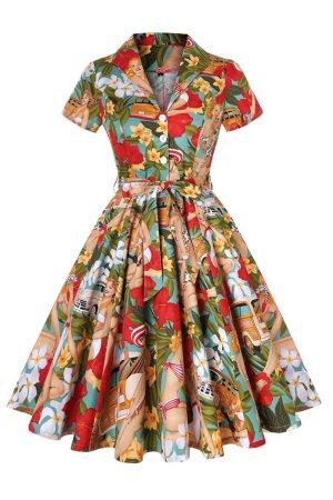 Aloha Tiki Hawaiin Retro Pin Up Dress