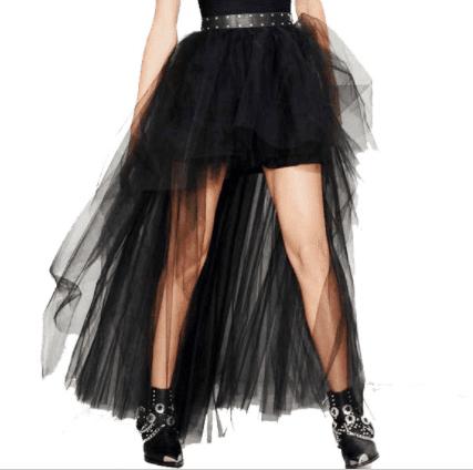 Black burlesque high low skirt
