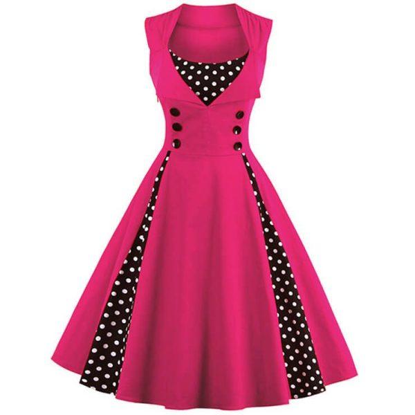Plus Size Pink Polka Dot Retro Swing Dress