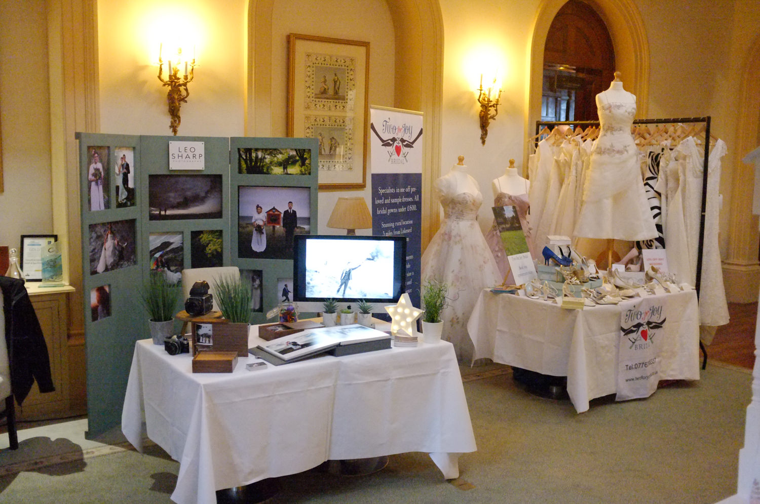 Leo Sharp Photography stand at Trenython manor Wedding Fair