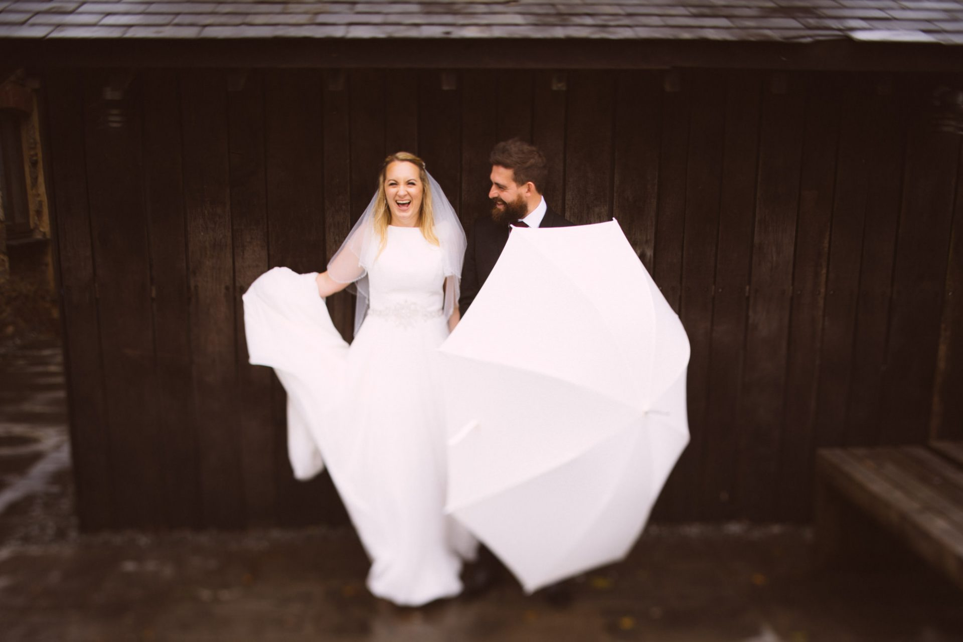 The Bride and Groom having fun at Trevenna Barns in Cornwall reviewed on The Journal page at Leo Sharp Photography