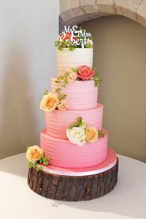 Wedding Cakes in London   Woking  Surrey from Le Papillon Patisserie Pink Ombre Buttercream Spin