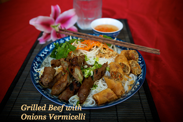 Grilled Beef with Egg Roll Vermicelli Vietnamese cuisine