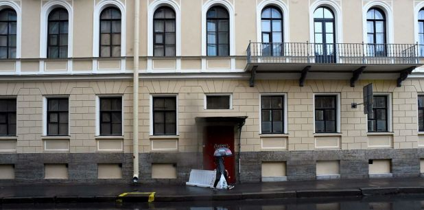 L'immeuble où vivait Oleg Sokolov à Saint-Pétersbourg/AFP