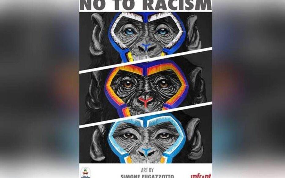 L'affiche représente trois singes et se veut une défense « des valeurs d'intégration, de multi-culturalisme et de fraternité ».