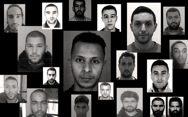 Les accusés du procès du 13 Novembre, de gauche à droite : Sofien Ayari, Ali Oulkadi, Mohamed Amri, Hamza Attou, Mohamed Abrini, Mohamed Bakkali, Osama Krayem, Salah Abdeslam, Farid Kharkhach, Ali El Haddad Asufi, Abdellah Chouaa, Yassine Atar, Adel Haddadi, Muhammad Usman, Oussama Atar, Ahmed Dahmani, Ahmad Alkhald, Jean-Michel et Fabien. Crédits : Ministère de la Justice, DR, AFP