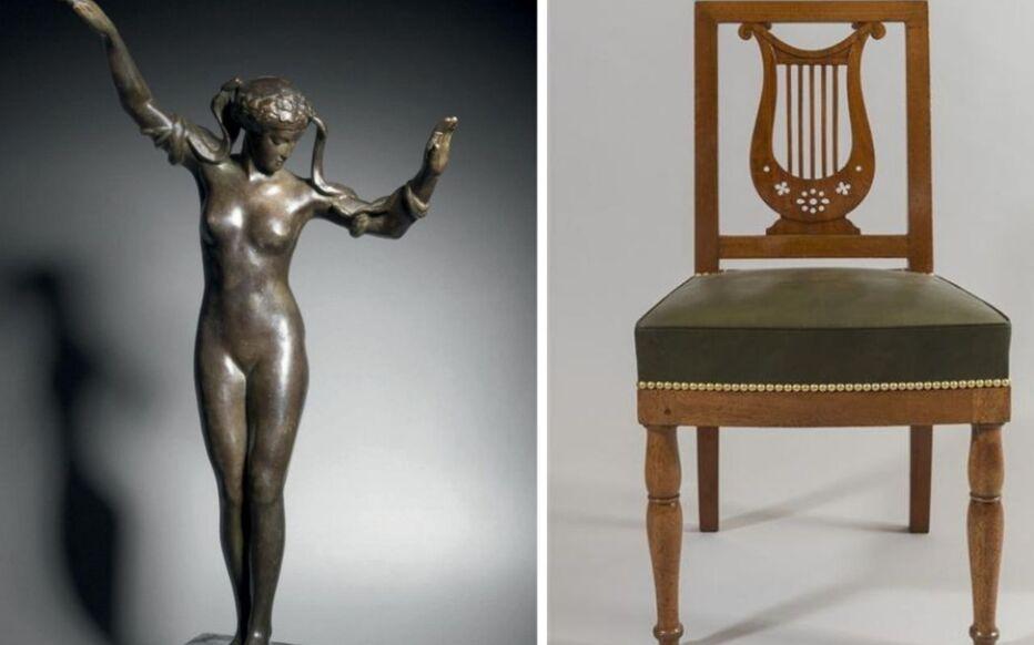 Une statue en Bronze « Danseuse au serpent », de Paul Landowski, et une chaise Lyre, d'Alphonse Jacob Desmalter, font partie des biens disparus.