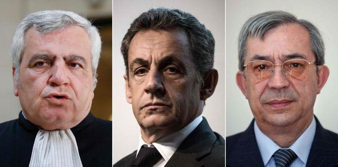 Le trio de prévenus du procès des « écoutes » : Me Thierry Herzog, Nicolas Sarkozy et l'ancien magistrat Gilbert Azibert./AFP