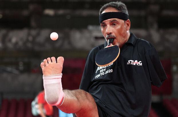 Egyptian table tennis player Ibrahim Hamadtou at the Paralympic table tennis individual event.  REUTERS / Ivan Alvarado