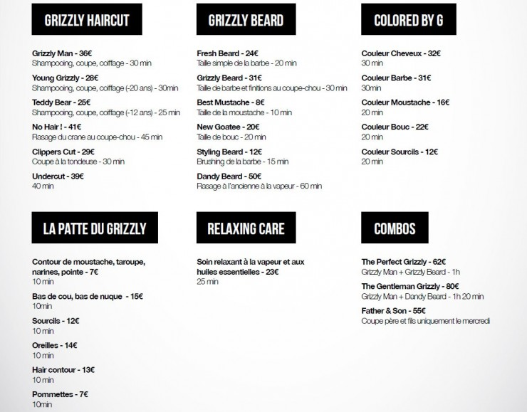 Les tarifs du Grizzly Barber Shop