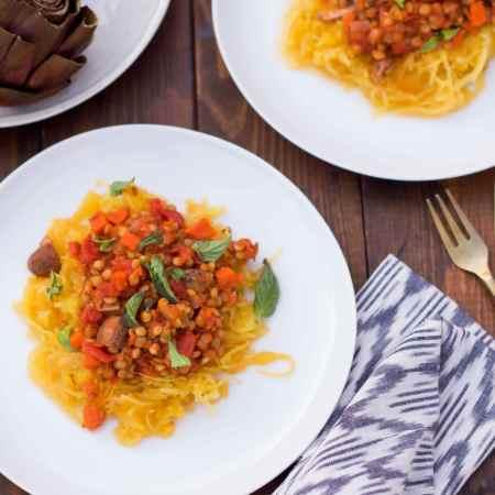 Lentil Ragu with Spaghetti Squash