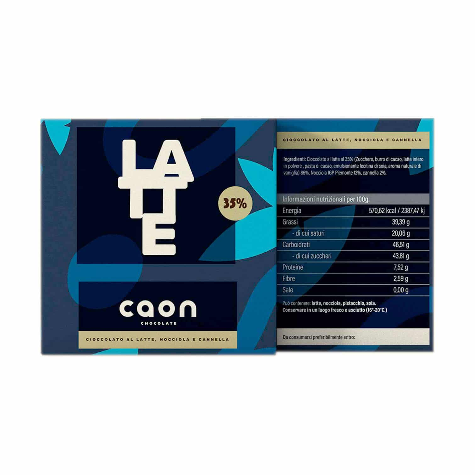 CIOCCOLATO AL LATTE 35% NOCCIOLA IGP E CANNELLA 50GR Caon Chocolate