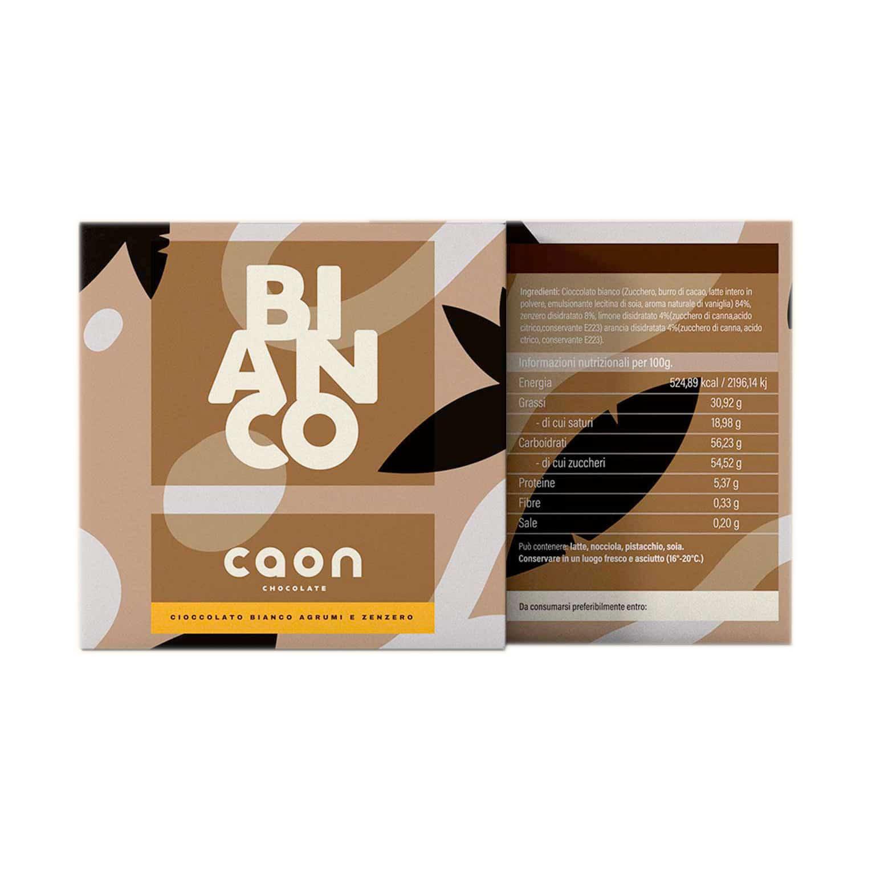 CIOCCOLATO BIANCO E AGRUMI E ZENZERO 50GR Caon Chocolate