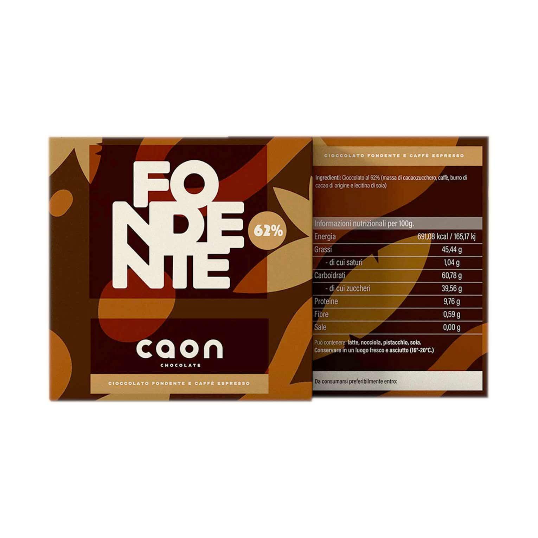 CIOCCOLATO FONDENTE 62% MONORIGINE PERÙ E CAFFÈ ESPRESSO 50GR Caon Chocolate