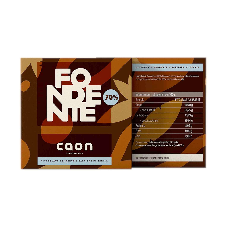 CIOCCOLATO FONDENTE 70% MONORIGINE PERÙ E SALFIORE DI CERVIA 50GR Caon Chocolate - prodotti tipici romagnoli