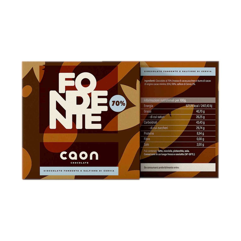 CIOCCOLATO FONDENTE 70% MONORIGINE PERÙ E SALFIORE DI CERVIA 50GR Caon Chocolate