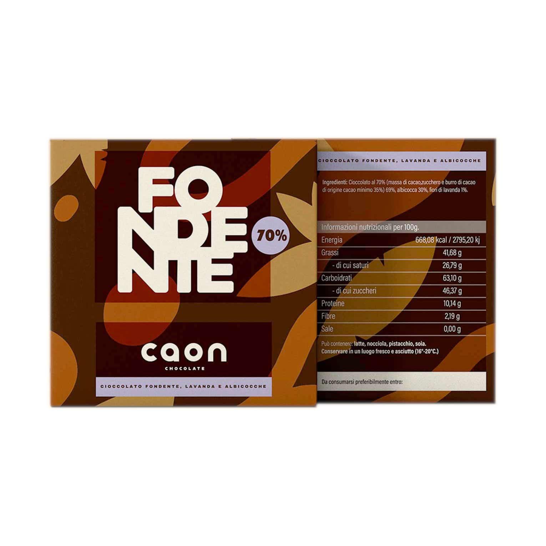 CIOCCOLATO FONDENTE 70% PERÙ ALBICOCCA E FIORI DI LAVANDA 50GR Caon Chocolate