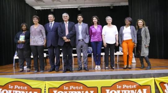 De gauche à droite : Clémentine Renaud, Sylvie Espagnolle-Labrune, Jean-François Portarrieu, Jean-Marc Dumoulin, Julien Léonardelli, Sandrine Floureusses, Monique Marconis, Marie-YvonnettePromi, Marie Fourage