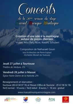 Une Ode à la montagne interprétée par l'orchestre Mozart de Toulouse, au Théâtre de plein air, et le lendemain à Massat