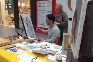 Christophe Corbier, artiste peintre en démonstration.