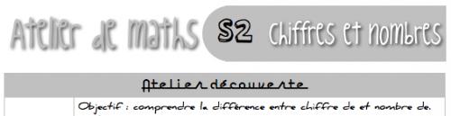 """Atelier de maths : séquence 2 """"chiffre et nombre"""""""