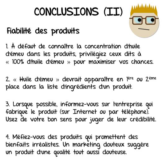 Mes conclusions sur la fiabilité des produits à base d'huile d'émeu
