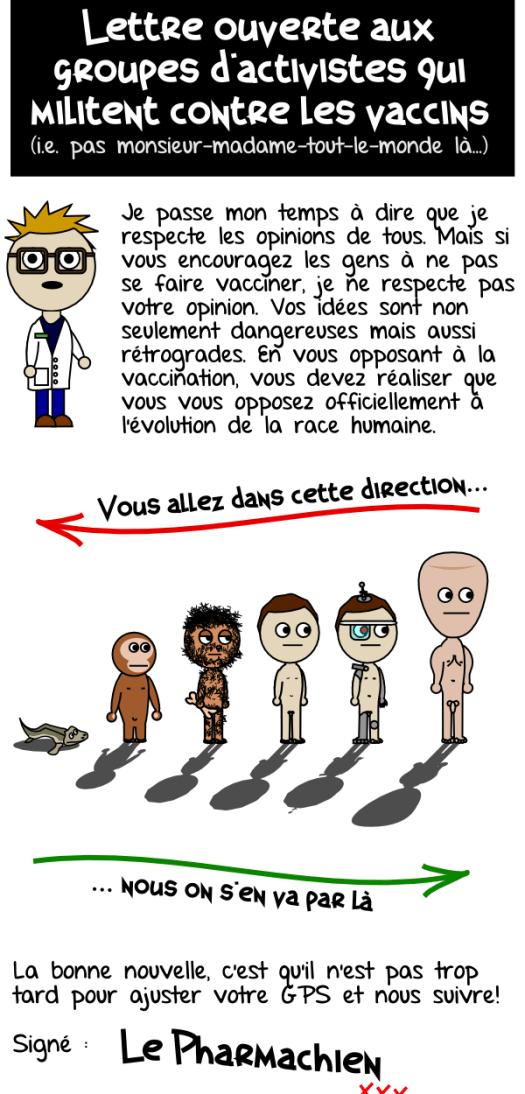 Lettre ouverte aux groupes anti-vaccins et évolution selon Le Pharmachien