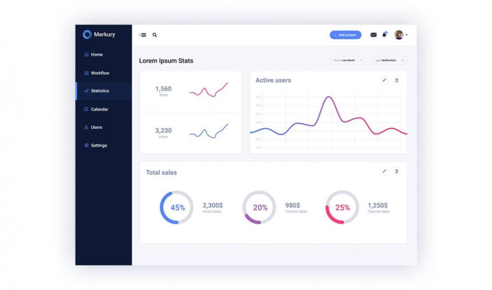 Free UI Kit Merkury Dashboard - statistics