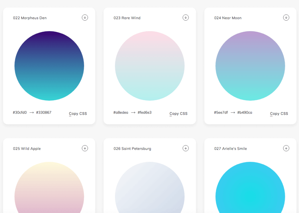 Gradient Design Trend: Web Gradients Is A Free Collection Of 180 Linear Gradients