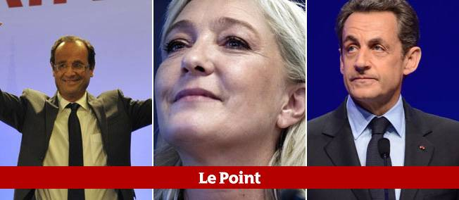 François Hollande, Marine Le Pen et Nicolas Sarkozy.