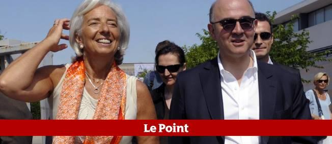 Pierre Moscovici et Christine Lagarde aux Rencontres économiques d'Aix-en-Provence.
