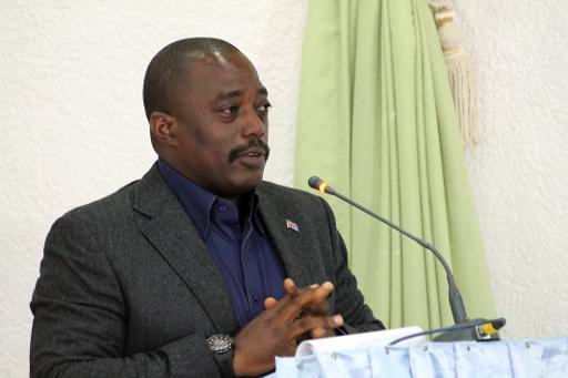 Le président de RDC, Joseph Kabila, le 31 octobre 2014 lors d'une visite à Beni © Alain Wandimoyi AFP