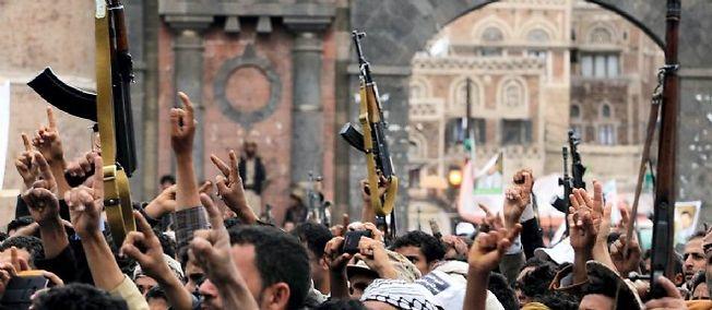 Manifestation de soutien aux houthis, à Sanaa, le 26 mars.