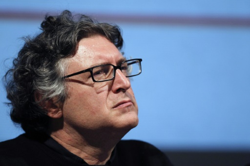 Le philosophe Michel Onfray, à l'ouverture de l'Université populaire de Caen, à Hérouville-Saint-Clair, dans le nord-ouest de la France, le 15 octobre 2010