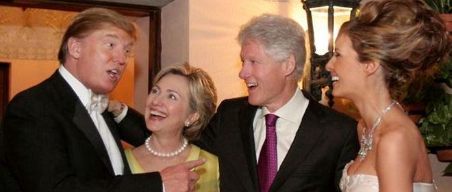 Les Clinton et les Trump le 22 janvier 2005 à Palm Beach.