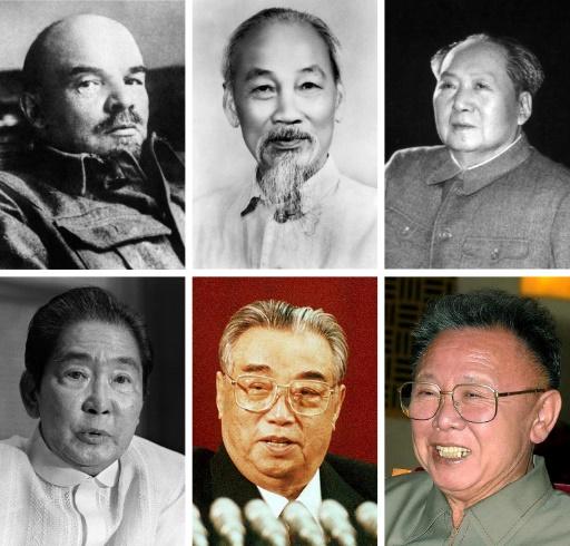 Montage de photos de dirigeants qui ont été embaumés: le soviétique Lénine, le vietnamien Ho Chi Minh, le chinois Mao Tsé-toung, le philippin Ferdinand Marcos, les sud-coréens Kim Il-Sung et Kim Jong-Il © STR AFP/Archives