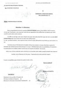 Le courrier de protestation adressé au Directeur général de la société N.S.C.E