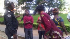 Manifestation à Abidjan contre la réforme du transport Gaoussou Touré, bien encadrés par les forces de l'ordre (Ph:Dr)