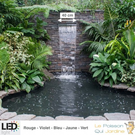 cascade lame d eau 40 cm inox led couleur pour bassin de jardin