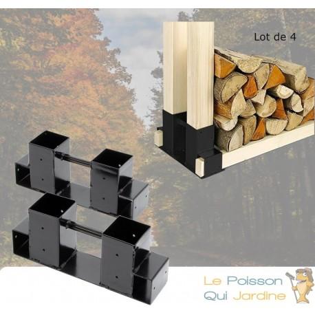 4 range buches support en metal pour rangement du bois de chauffage